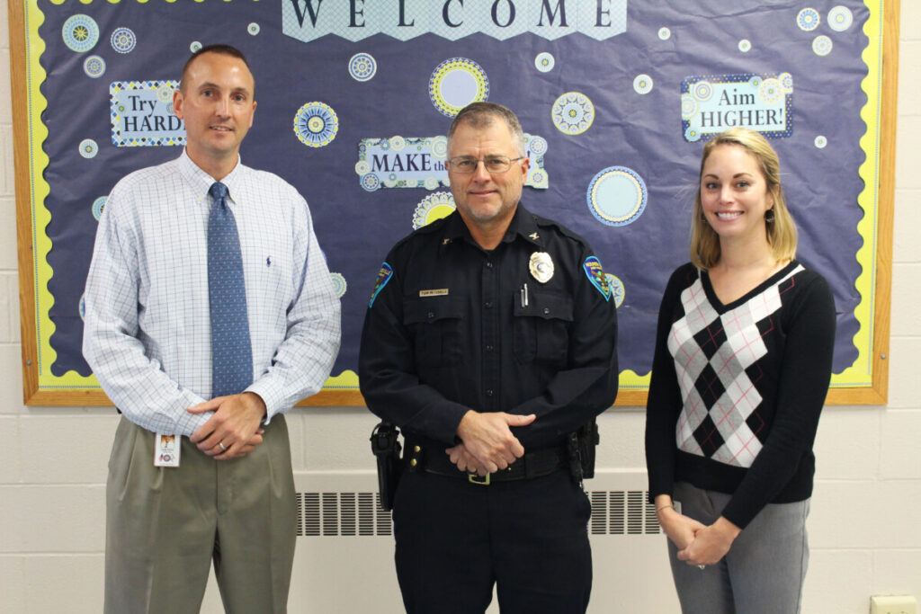 Pictured from left: Central Elementary Principal Casey Storm, Moundsville Police Chief Tom Mitchell and Central Elementary Counselor Jenna Dompa.