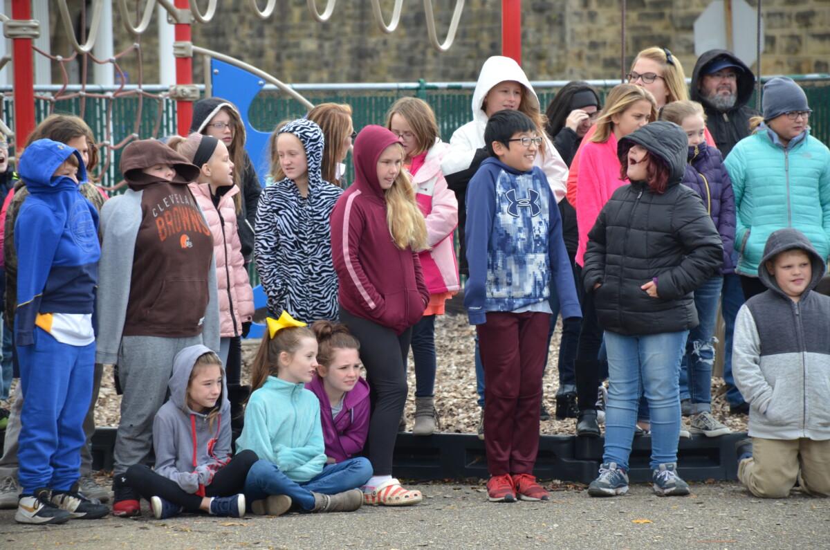 Students watching pumpkin drop